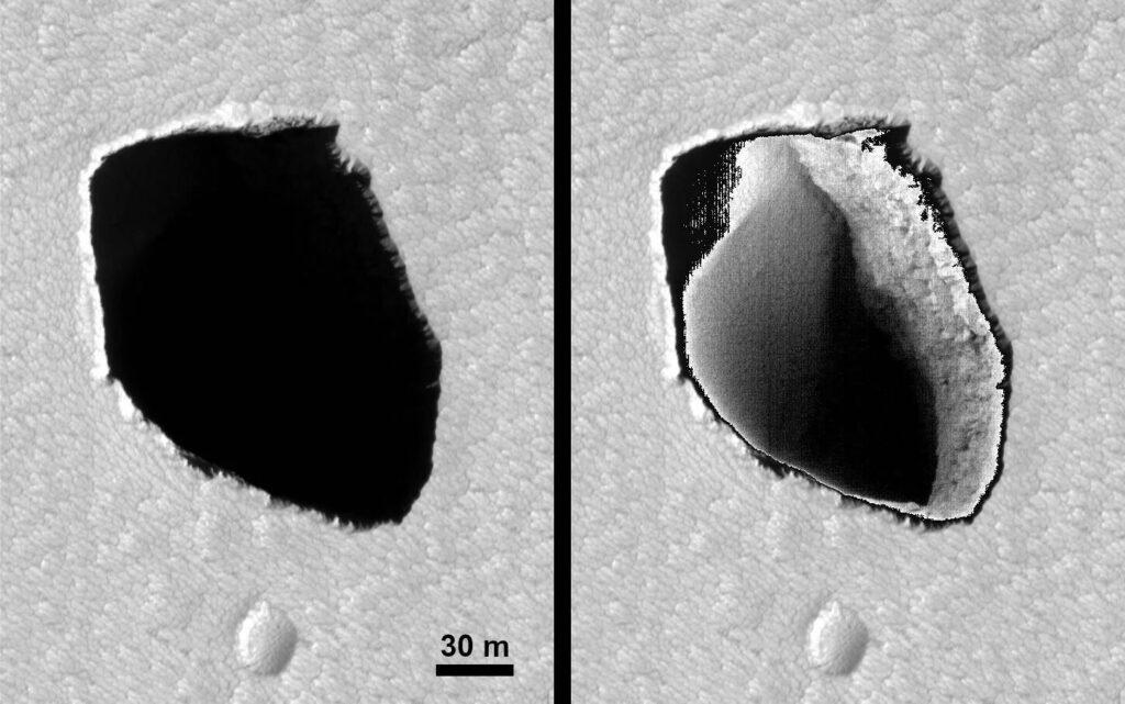 На Марсе обнаружен возможный вход в пещеру